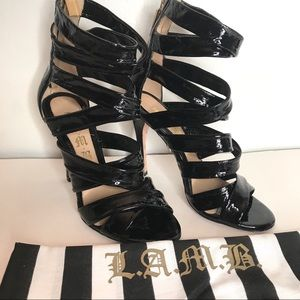 LAMB Tizzy Black Patent Leather Strappy Shoes 6